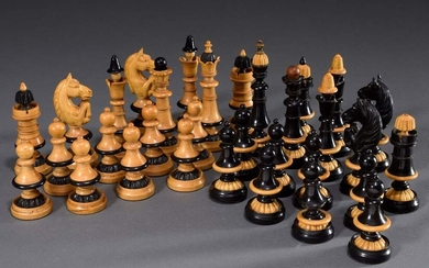 Historism chess set with 32 pieces, wood turned and carved,...