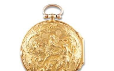 John Ellicott   A Very Rare and Fine Yellow Gold Repoussé Pair Case Verge Watch, 1751