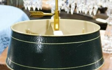 Louis XVI style bouillotte lamp,with a green tole shade