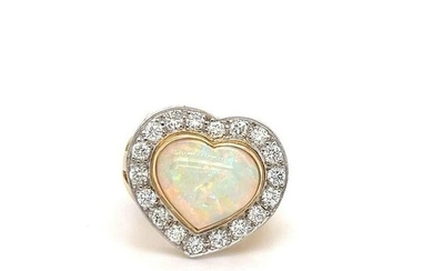 Opal Heart and Diamond Ring