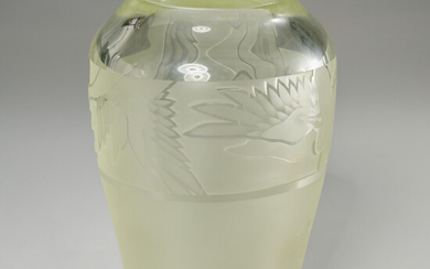 Orient & Flume, Art Deco style carved glass vase