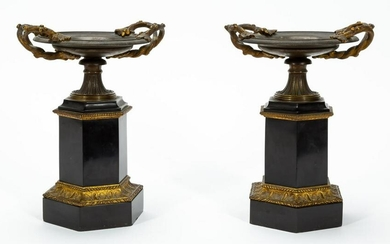 PAIR, 19TH C FRENCH BRONZE & SLATE TAZZAS