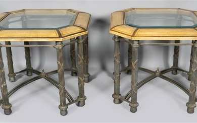 PAIR OF IMPRESSED LEATHER AND CLASSICAL STYLE OCTAGONAL IRON SIDE TABLES WITH GLASS INSERT