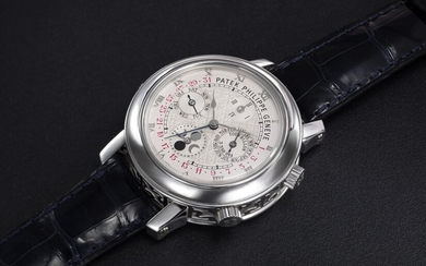 PATEK PHILIPPE, REF. 5002P-001 SKY MOON TOURBILLON, AN EXTREMELY RARE PLATINUM DOUBLE DIALED WRISTWATCH WITH 12 COMPLICATIONS