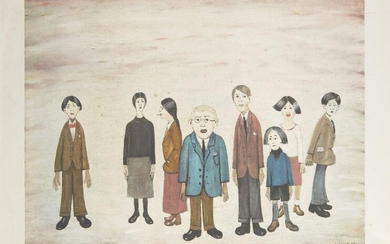 PROPERTY FROM THE ESTATES OF L.S. LOWRY AND THE LATE CAROL ANN LOWRY Laurence Stephen Lowry RBA RA, British 1887-1976- His Family; offset lithograph in colours on wove, signed in pencil, numbered 442 in inkstamp recto, printed by Chorley and...