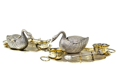 Pair of Parcel Gilt Silver Condiment Sets, Early 20th Century.
