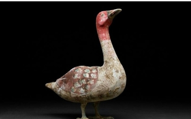 RARE CHINESE HAN DYNASTY POTTERY GOOSE WITH BRONZE LEGS