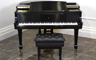 STEINWAY BLACK LACQUER BABY GRAND PIANO, MODEL M