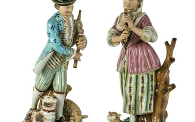 Sevres Style French Porcelain Musician Figurines