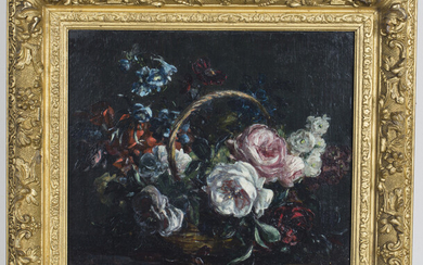 Stuart Scott Somerville - 'Basket of Roses', mid-20th century oil on canvas, signed recto