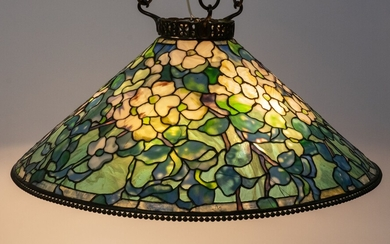 "TIFFANY STUDIOS (AMERICAN, 1878�1938) LEADED STAINED GLASS & BRONZE MOUNTED DOGWOOD CHANDELIER, H 11.75"", DIA 28.325"" (SHADE)"