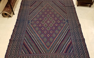 Tunisian hand-knotted wool carpet with rhombus decoration, blue dominant, Length....