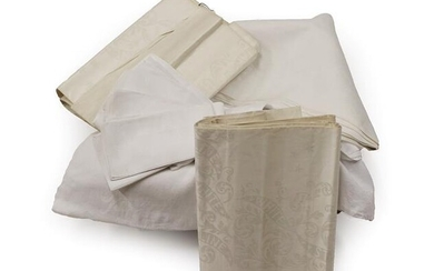 Two Cream Damask White Star Line Table Cloths with stars...