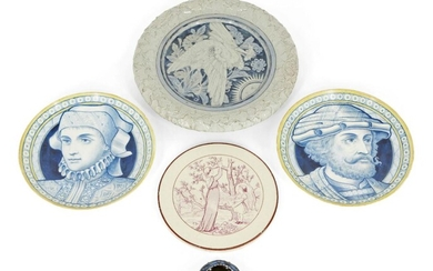 Two hand-painted porcelain plates, Late 19th century, unsigned, Painted in blue and yellow, one depicting a gentleman looking right, the other a woman looking left, 23.5cm each; together with a Victorian plate, both top and bottom rims moulded with...
