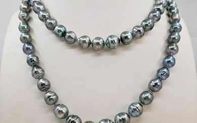 United Pearl - 8.5x11mm Silvery Green - 14 kt. Gold, Tahitian pearls - Necklace