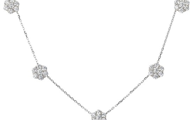 Van Cleef & Arpels, A Diamond and White Gold 'Fleurette' Necklace and Earring Set