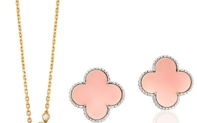 Van Cleef & Arpels, A Set of Mother-of-Pearl and Diamond 'Two Butterfly' Pendant Necklace and Pink Opal 'Alhambra' Earrings