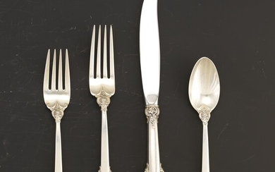 """Wallace Sterling Silver Extended Service for Twelve, """"Grand Baroque"""" Pattern"""