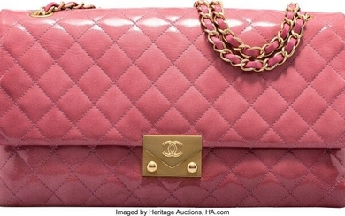 Chanel Pink Quilted Patent Leather Flap Bag with