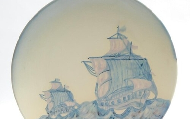 A 1930s Carlton Ware charger decorated with two hand painted...