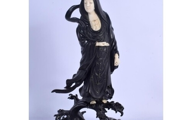 A 19TH CENTURY JAPANESE MEIJI PERIOD BRONZE AND IVORY FIGURE...