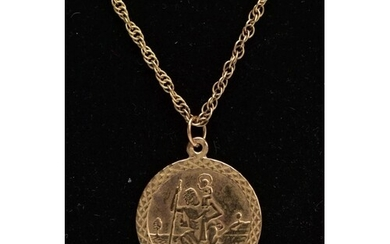A 9CT PENDANT NECKLACE, the circular St. Christopher pendant...