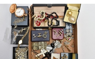 A BOX OF ASSORTED ITEMS, to include a gold-plated full hunte...