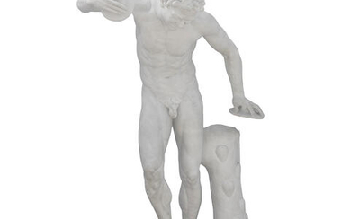A CARVED MARBLE FIGURE OF THE MEDICI FAUN