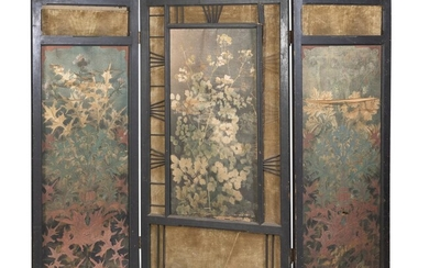 A CHINESE PAINTED SILK AND WOOD THREE PANEL SCREEN 19TH CENTURY. DEFECTS.