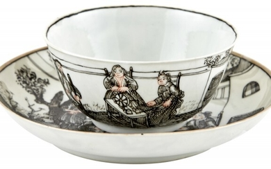 A Chinese Grisaille Decorated European Subject Porcelain Cup and Saucer