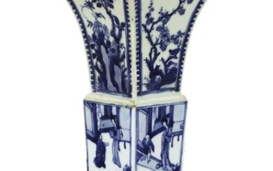 A Chinese blue and white 'erotic' gu vase
