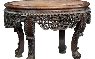 A Chinese richly carved exotic hardwood table with...