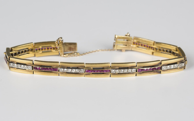 A Hungarian gold, ruby and diamond bracelet, mid-20th century, in a rectangular triple bar link desi
