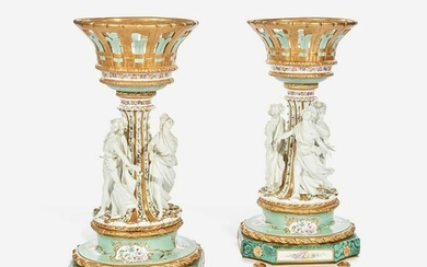 A Large Pair of Tiche Louis XV Style Hand-Painted