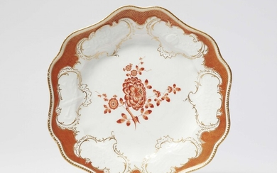 A Meissen porcelain dinner plate from the dinner service with the iron red mosaic border