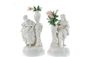 A PAIR OF LATE 19TH CENTURY CONTINENTAL PORCELAIN FIGURAL VASES