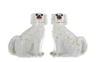 A PAIR OF MID-19TH CENTURY STAFFORDSHIRE WALLY DOGS