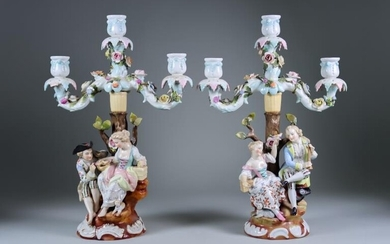 A Pair of Sitzendorf Porcelain Three-Light Candelabra, Late 19th/Early...