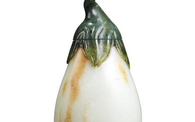 A RARE LARGE WHITE AND SPINACH-GREEN JADE AUBERGINE-FORM VASE AND COVER