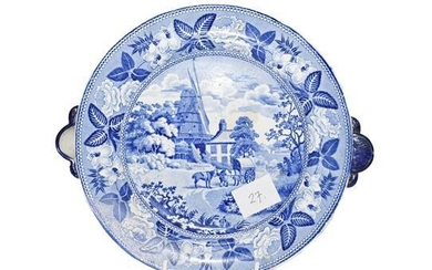 A Staffordshire Pearlware Hot Water Plate, circa 1830, with cow's...
