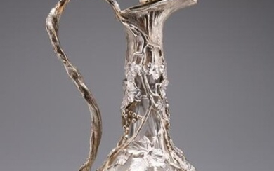A VICTORIAN STYLE SILVER-PLATE MOUNTED CUT-GLASS CLARET