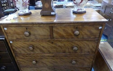 A Victorian satinwood Chest of Drawers, with two short drawe...