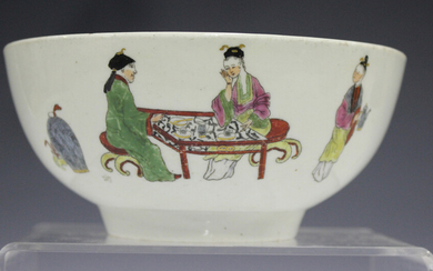A Worcester circular bowl, circa 1765, painted and coloured with figures from the Chinese Family pat
