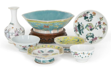 A collection of Chinese porcelain, late 19th century, comprised of two famille rose bowls, a vase and one small dish, with three pedestal bowls, 8cm-20cm diameter (7)