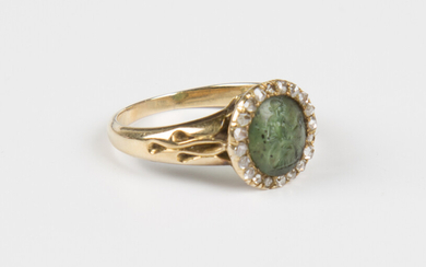 A gold, rose cut diamond and carved green agate intaglio ring, second half of the 19th century, the