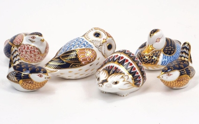 A group of Royal Crown Derby Imari paperweights, 20th century, including a hedgehog, a duck, an owl and other birds, the largest at 13cm long, with printed factory marks (6)