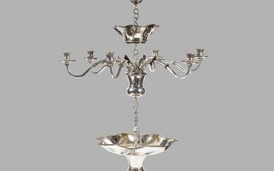A highly important Dutch silver shabbat lamp and chandelier