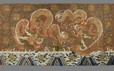 A large Chinese embroidered dragon panel