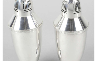 A near pair of 1930's silver Art Deco style casters.