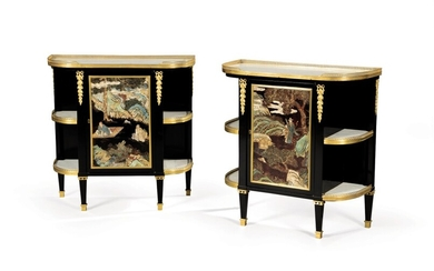 A pair of Louis XVI gilt-bronze mounted polychrome Chinese lacquer and ebonised oak and pear consoles desserte, by Roger Vandercruse, dit Lacroix, circa 1780